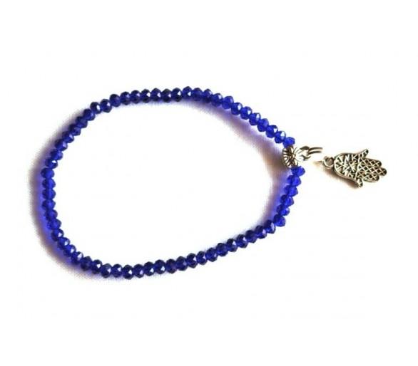 Bracelet KHMISSA en perles à facettes marine