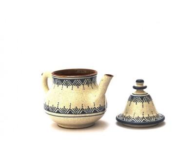 Théière moyenne décorée en poterie motif bleu