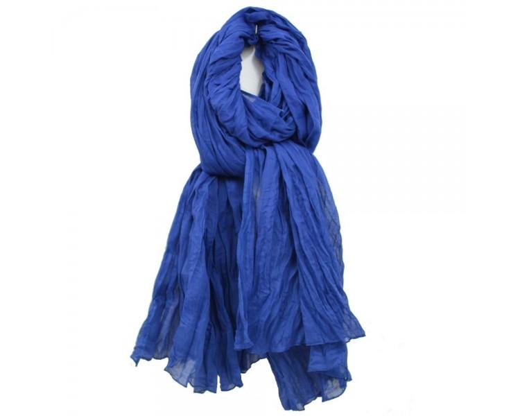 Chèche marocain en coton bleu Majorelle