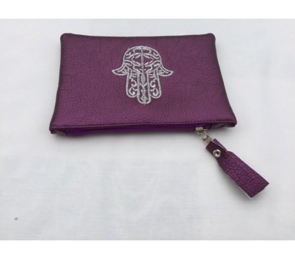 Petite pochette porte-monnaie marocain brodé motif main khmissa aubergine
