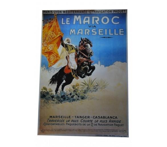 Affiche publicité rétro 50x70 cm Le Maroc via Marseille