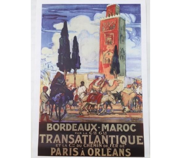 Affiche publicité rétro 40x60 cm Bordeaux Maroc