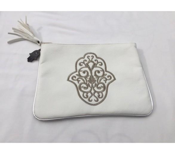 Pochette marocaine brodée blanc