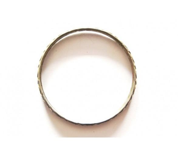 Bracelet jonc ancien en métal blanc émaillé FERIEL