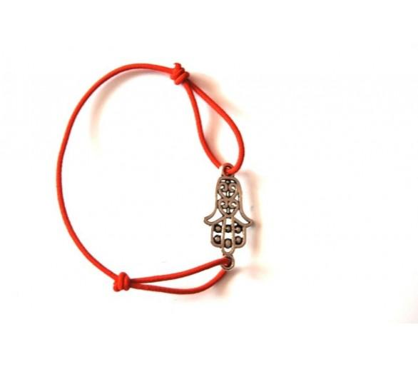 Bracelet KHMISSA élastique rouge argent