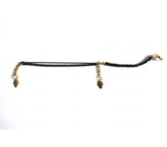 Bracelet KAISSA avec Khmissa noir