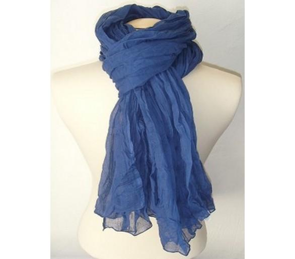 Chèche marocain en coton bleu baltique